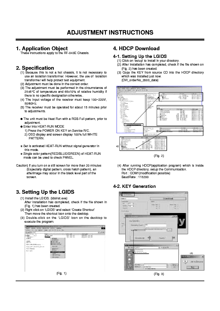 LG PLASMA RF-043E CHASSIS ADJUSTMENT INSTRUCTION service manual (1st page)