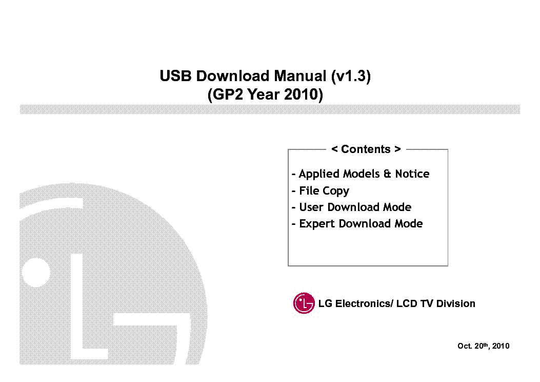 LG USB DOWNLOAD V1.3 LD550 LD650 LE5400 LE5500 LE7500 LE8500 TRAINING service manual (1st page)