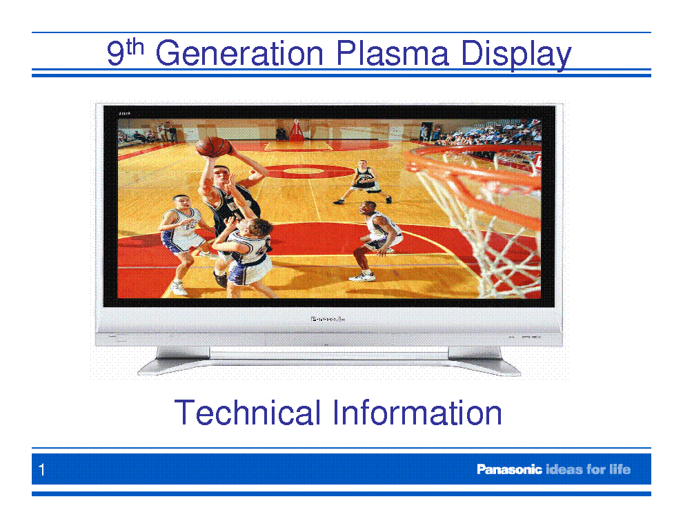 PANASONIC 9TH GEN PLASMA SYMPTOMS AND CURES service manual (1st page)