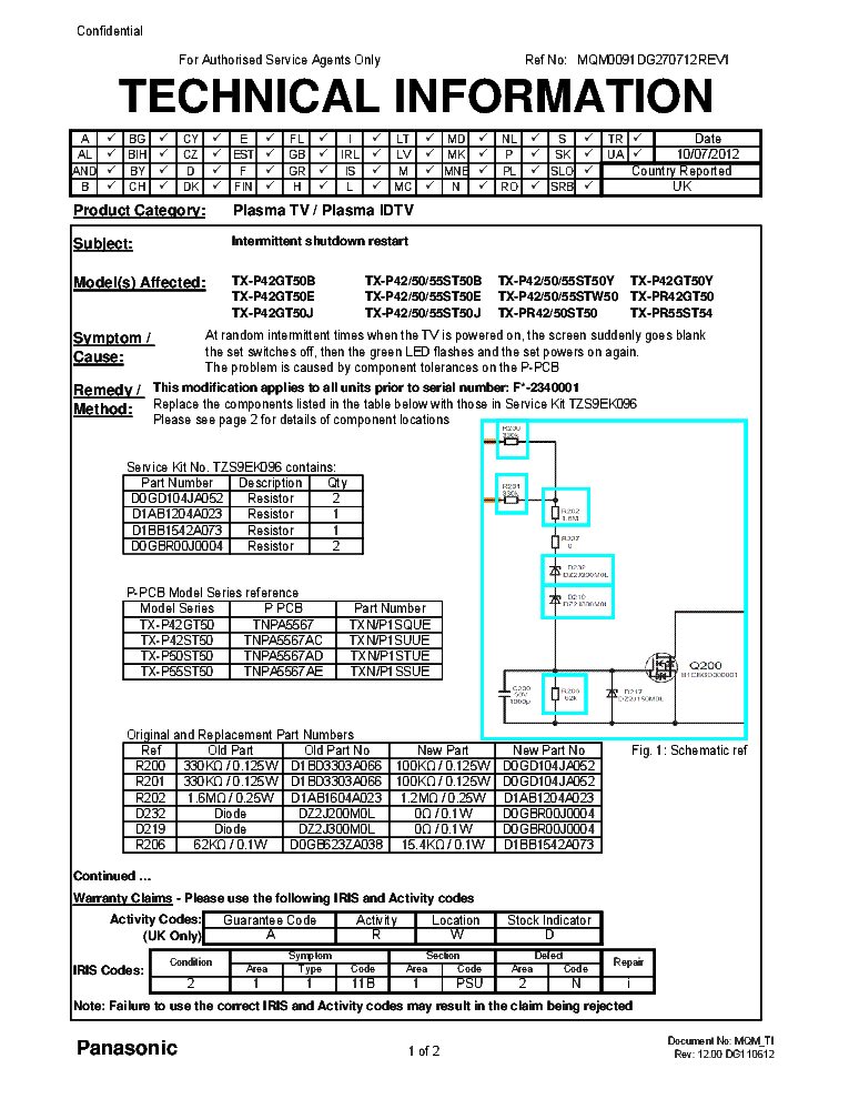 PANASONIC CHASSIS GPF15D-E TECHNICAL INFO service manual (1st page)