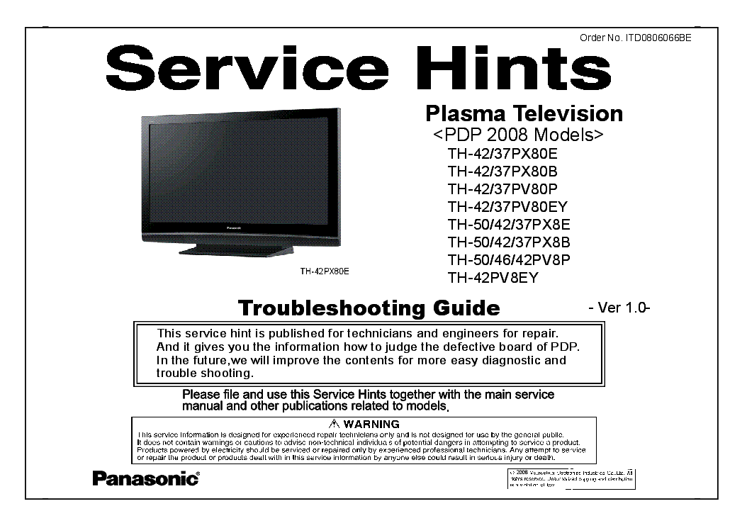 PANASONIC ITD0806066BE PDP-2008 TH-37-42PX80 PV80E TH-50-42-37PX8 TH-42PV8EY VER.1.0 TROUBLESHOOTING service manual (1st page)