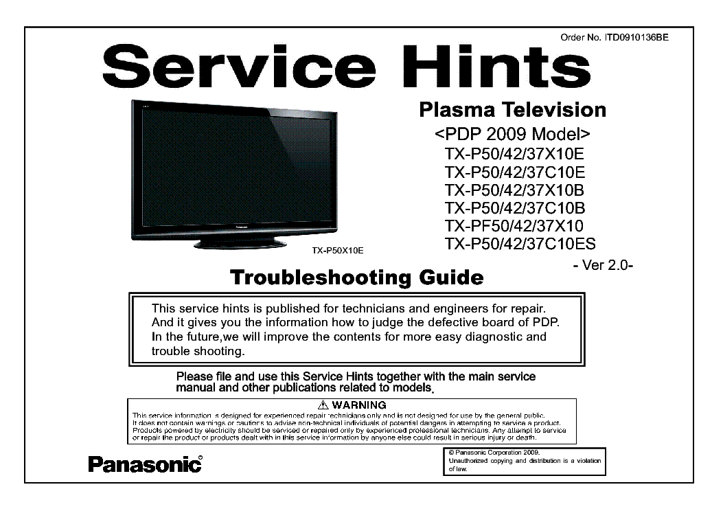 PANASONIC ITD0910136BE PDP-2009 TX-P50-42-37X10E 37C10E 37X10B 37C10B 37C10ES PF50-42-37X10 VER.2.0 TROUBLESHOOTING service manual (1st page)
