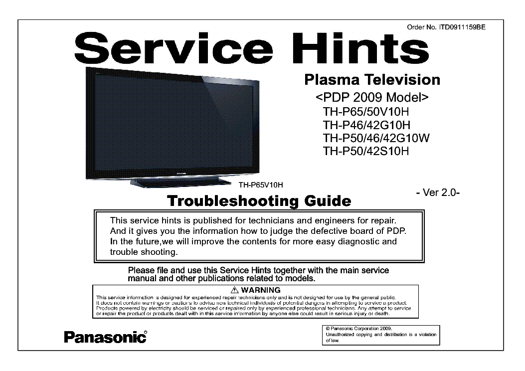 PANASONIC ITD0911159BE PDP-2009 TH-P65V10H VER.2.0 TROUBLESHOOTING service manual (1st page)