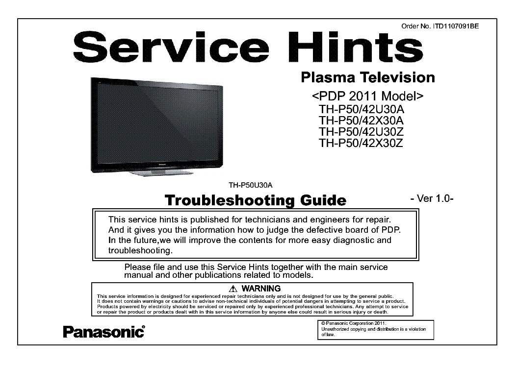 PANASONIC ITD1107091BE PDP-2011 TH-P50U30A VER.1.0 TROUBLESHOOTING service manual (1st page)