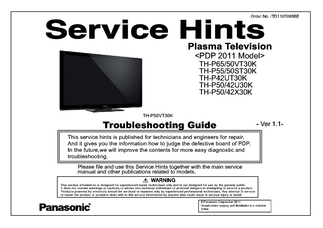 PANASONIC ITD1107095BE PDP-2011 TH-P50VT30K VER.1.0 TROUBLESHOOTING service manual (1st page)