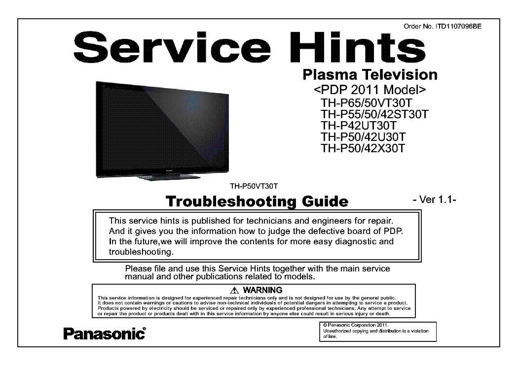 PANASONIC ITD1107096BE PDP-2011 TH-P55ST30T VER.1.1 TROUBLESHOOTING service manual (1st page)