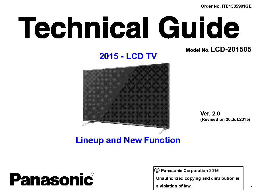 PANASONIC LCD-201505 TECHNICAL GUIDE LINEUP NEW FUNCTION VER.2.0 service manual (1st page)