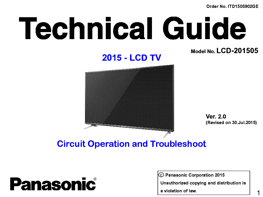 PANASONIC LCD-201505 TECHNICAL GUIDE TROUBLESHOOTING VER.2.0 service manual (1st page)