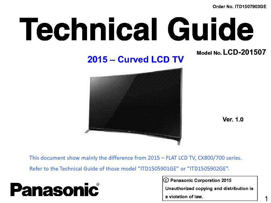 PANASONIC LCD-201507 TECHNICAL GUIDE VER.1.0 service manual (1st page)