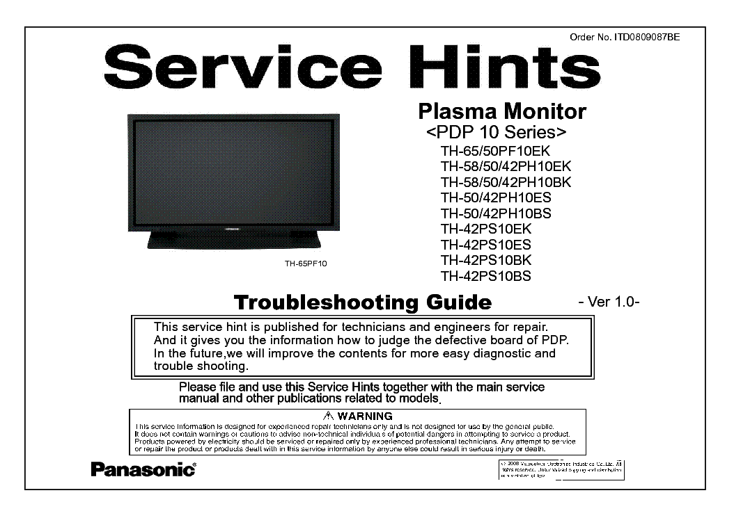 PANASONIC PDP-10 SERIES VER.1.0 TROUBLESHOOTING service manual (1st page)