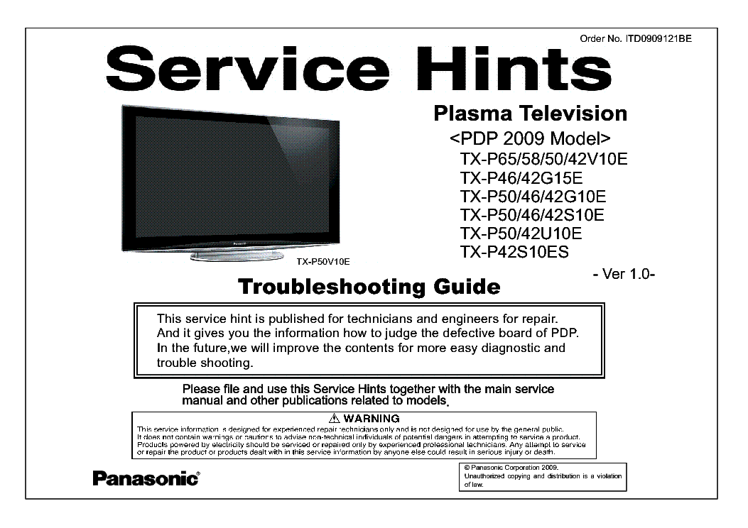 PANASONIC PDP 2009 MODEL TROUBLESHOOTING GUIDE TX-P65-58-50-42V10E P46-42G15E P50-46-42G10E S10E P50-42U10E P42S10ES service manual (1st page)