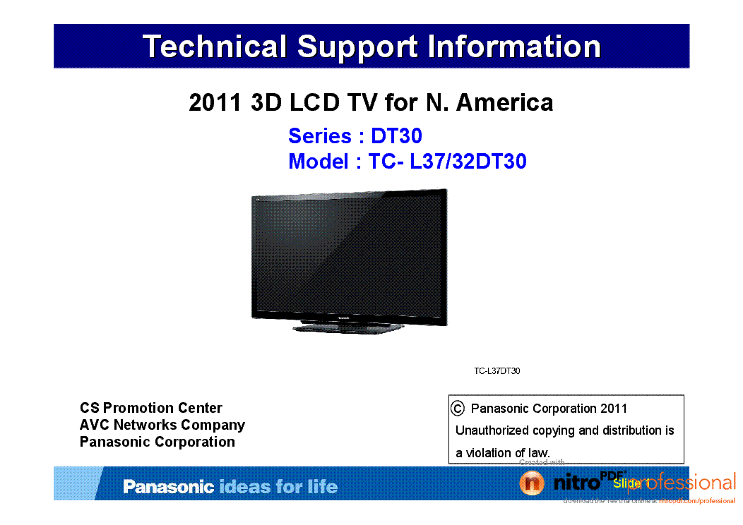 PANASONIC TC-L37DT30 TC-32DT30 2011 3D LCD TV FOR N.AMERICA SUPPORT service manual (1st page)