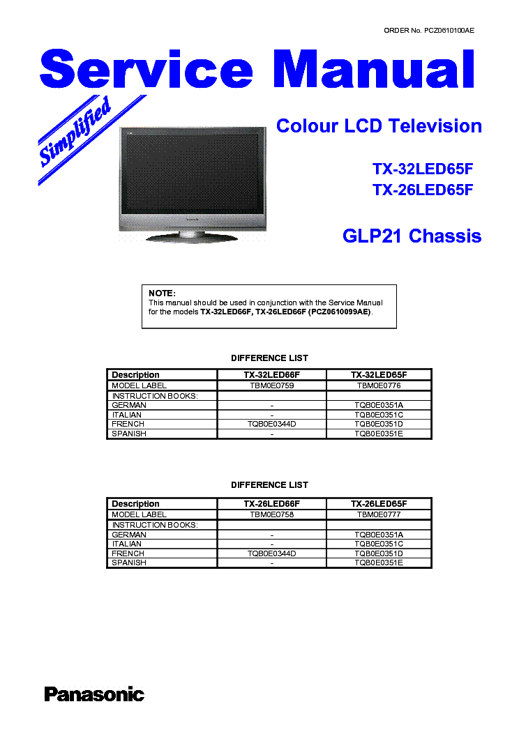 PANASONIC TX-26 32LED65F DIFFERENCE-LIST service manual (1st page)