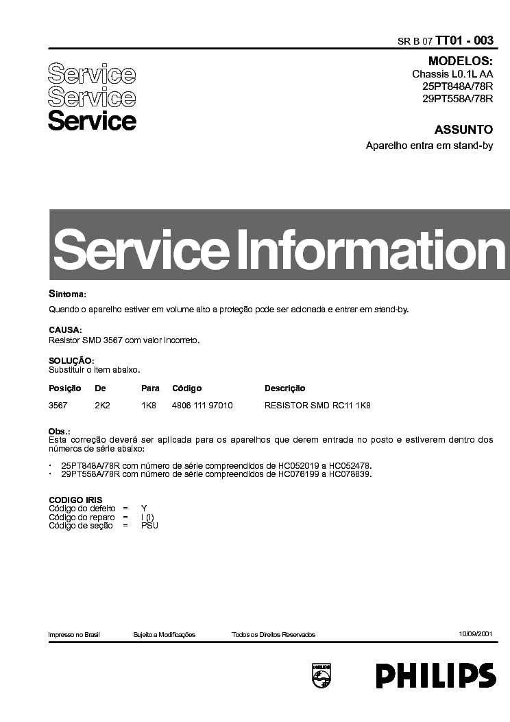 PHILIPS 29PT558 INFO service manual