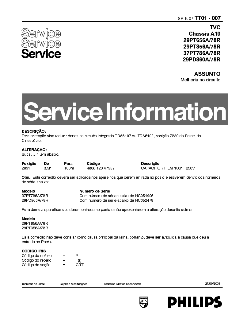 PHILIPS 29PT656 INFO service manual (1st page)