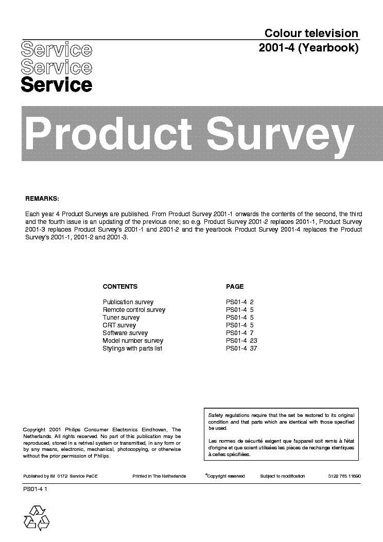 PHILIPS 312278511690 PRODUCT-SURVEY 2001-4 service manual (1st page)