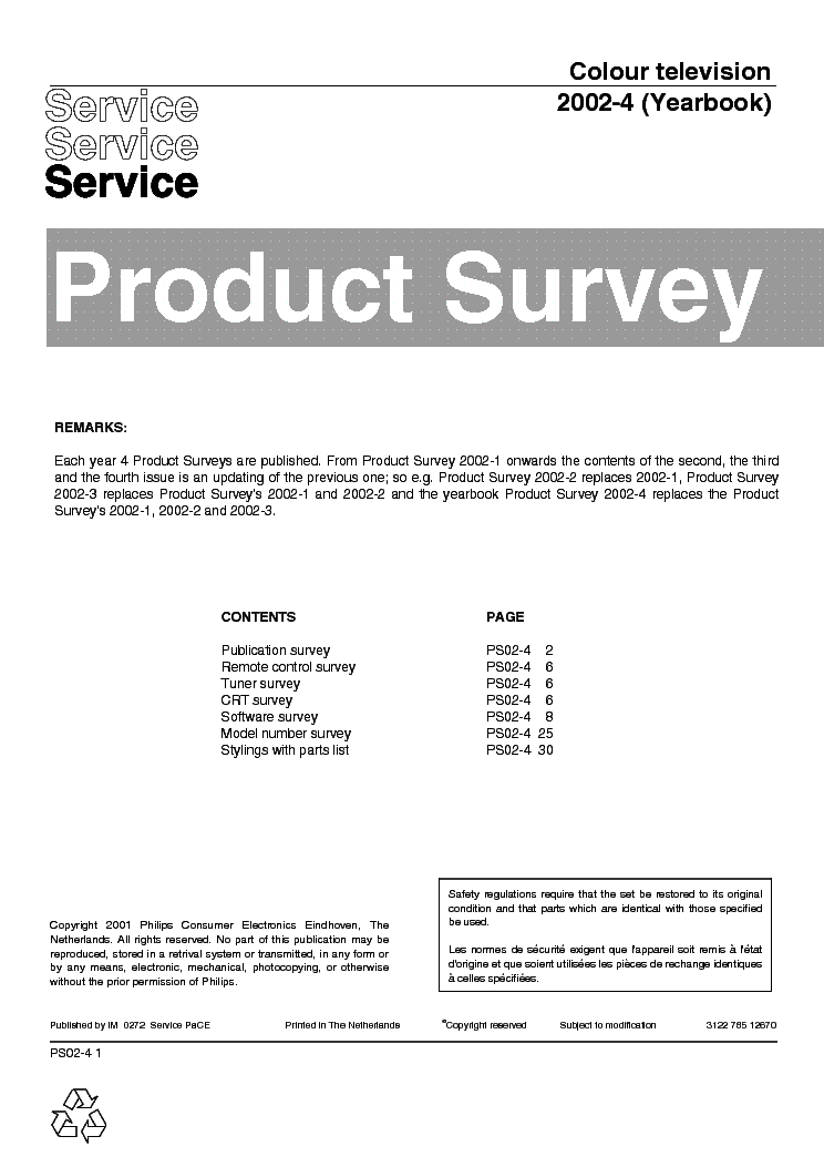 PHILIPS 312278512670 PRODUCT-SURVEY 2002-4 service manual (1st page)