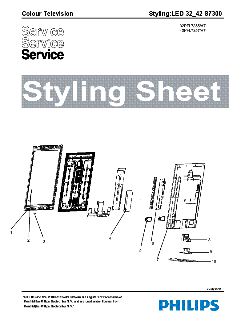 PHILIPS 32PFL7355 42PFL7357 STYLING SHEET 2012 service manual (1st page)