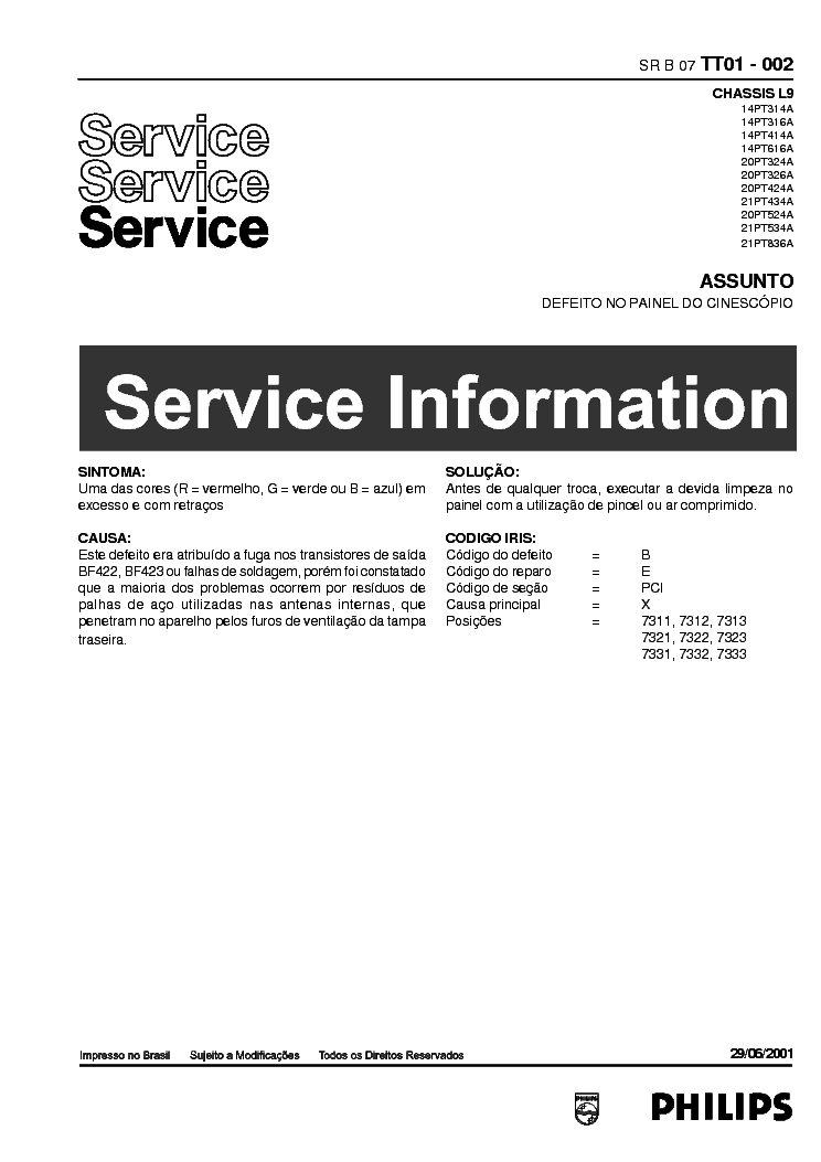 PHILIPS CHASSIS L09 INFO service manual (1st page)