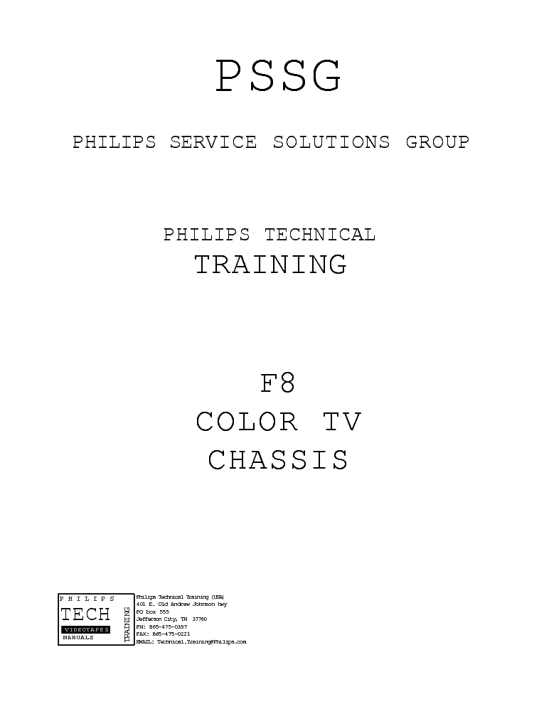 PHILIPS F8 TRAINING MANUAL service manual (1st page)