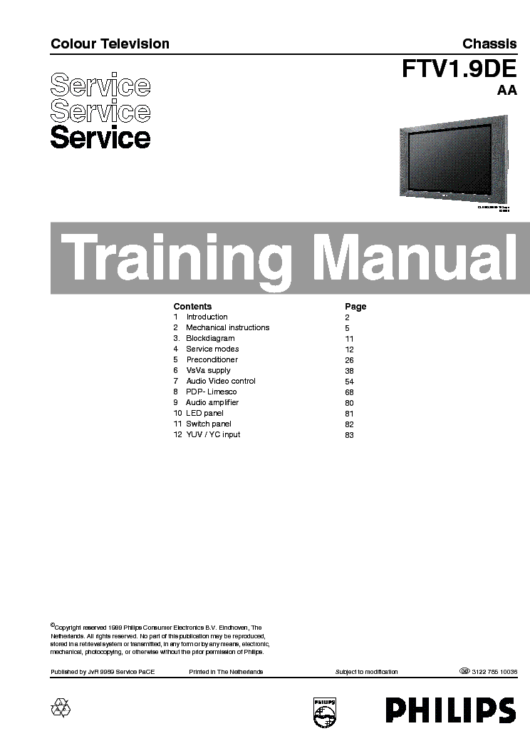 PHILIPS FTV1.9DE AA TRAINING service manual (1st page)