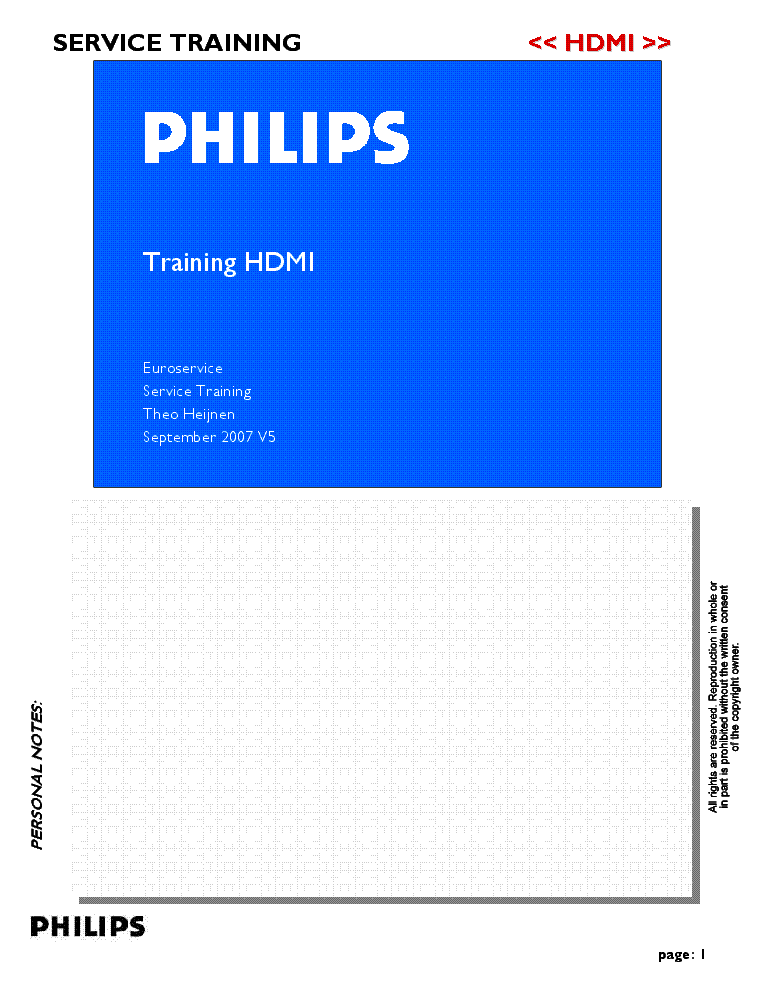 PHILIPS HDMI TRAINING service manual (1st page)