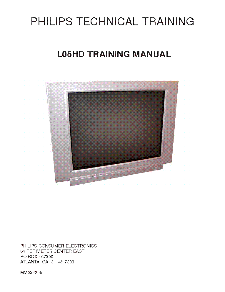 PHILIPS L05HDTM TRAINING MANUAL service manual (1st page)