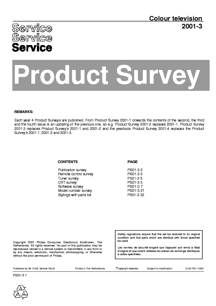 PHILIPS PRODUCT SURVEY 2001-3 312278511680 service manual (1st page)