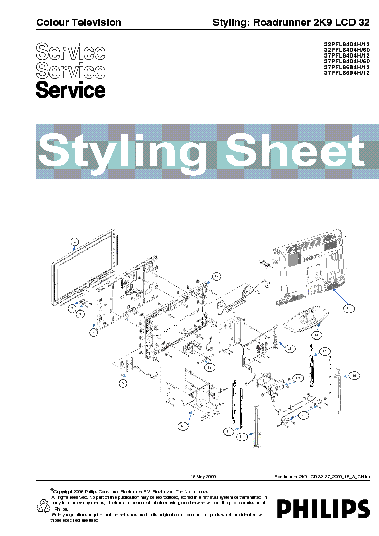 PHILIPS ROADRUNNER-2K9 STYLING SHEET LCD32-37 2009 service manual (1st page)