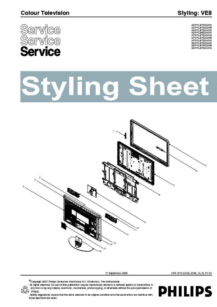 PHILIPS VE8 STYLING SHEET UFD42-52 2008 12 service manual (1st page)