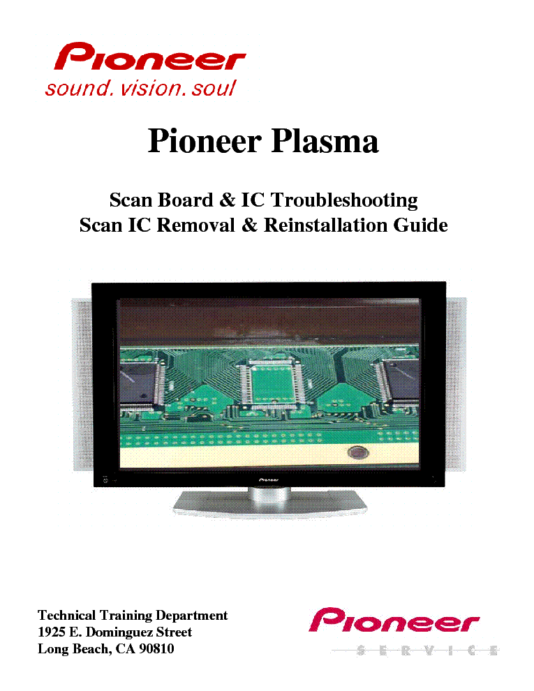 PIONEER PDP SCANBOARD AND ICS REMOVAL REINSTALLATION GUIDE service manual (1st page)