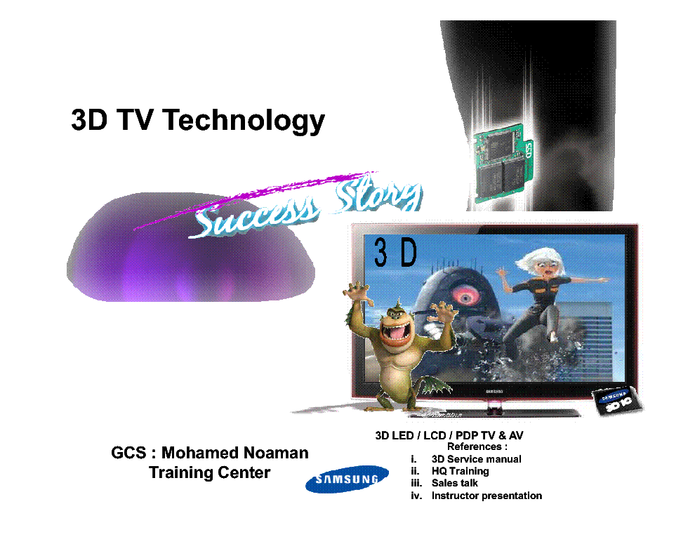 SAMSUNG 3D-TV TECHNOLOGY TRAINING BOOK service manual (1st page)