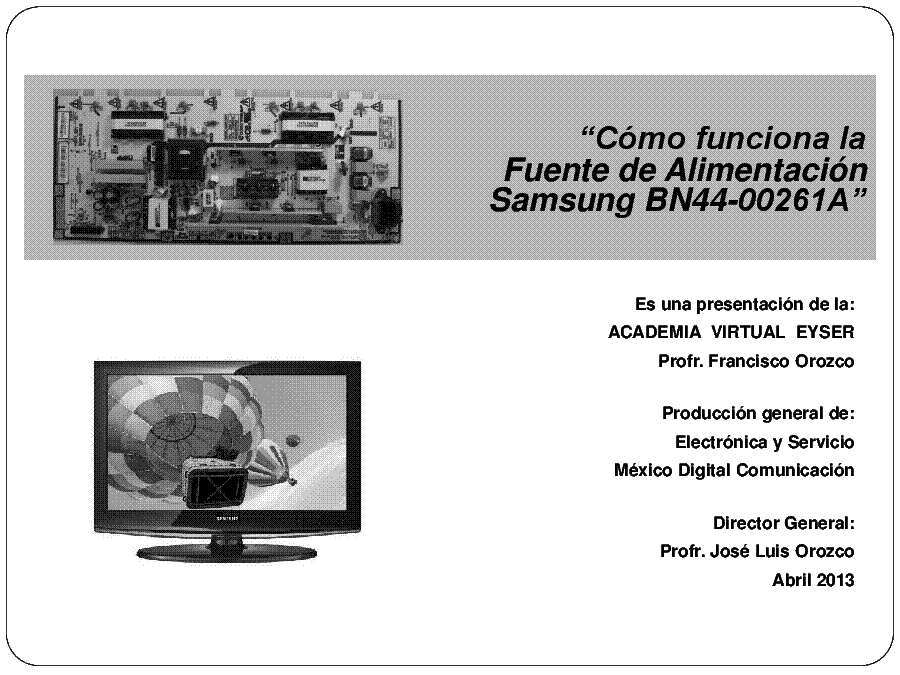 SAMSUNG BN44-00261A TRAINING SPANISH service manual (1st page)