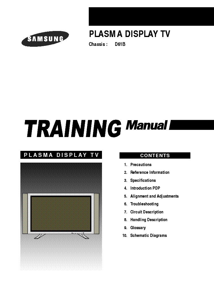 SAMSUNG D61B PDP TRAINING service manual (1st page)