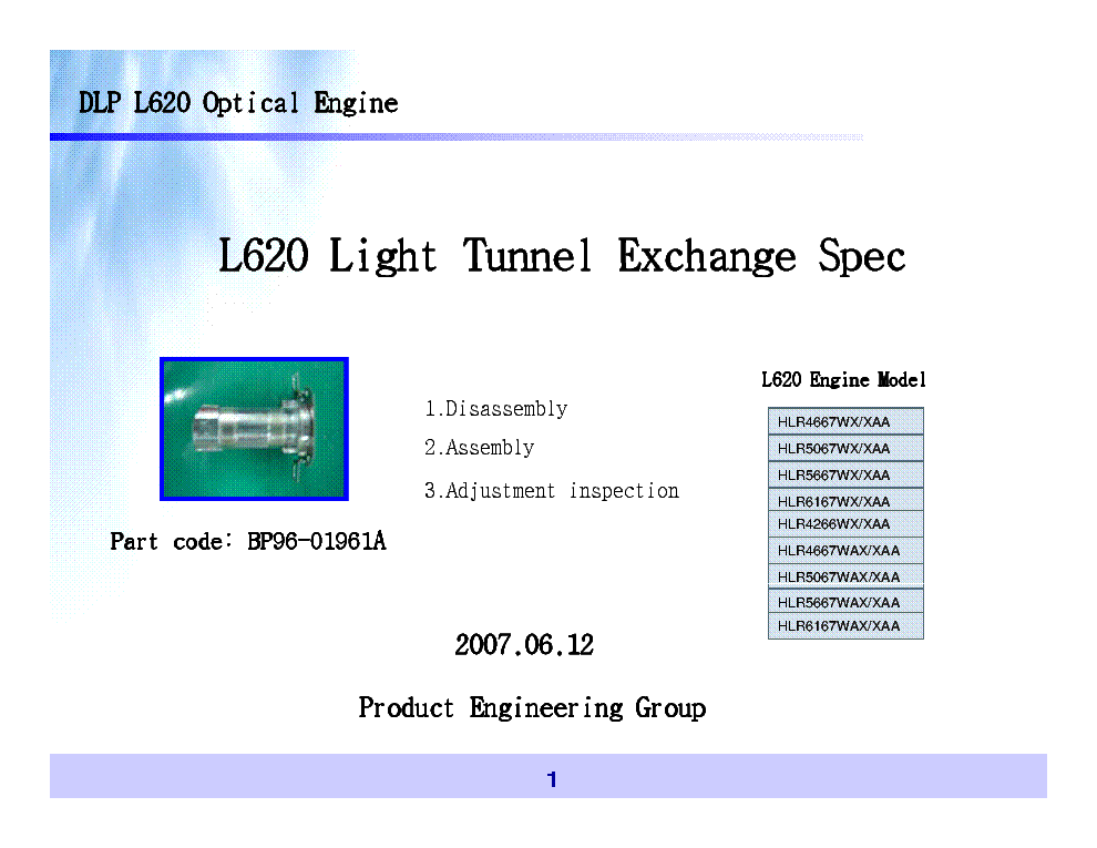 SAMSUNG DLP L620 LIGHT TUNNEL EXCHANGE SPEC service manual (1st page)