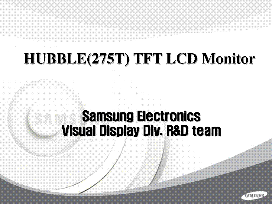 SAMSUNG HUBBLE 245T 275T LS27HUBCB LCD MONITOR TRAINING service manual (1st page)