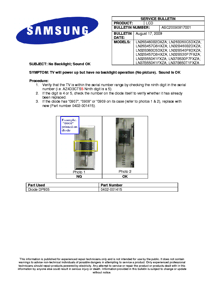 SAMSUNG LN26B460 LN26B457 LN32B360 LN32B457 LN32B550 LN37B550 ASC20090817001 BULLETIN service manual (1st page)