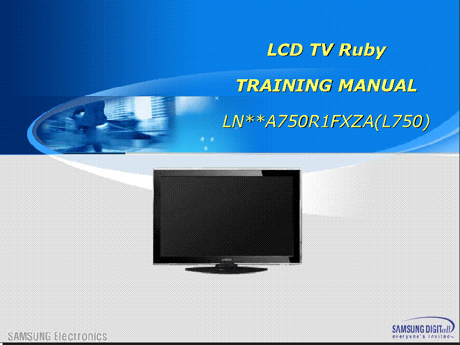 SAMSUNG LN40A750R1FXZA LN46A750R1FXZA LN52A750R1FXZA L750 RUBY TRAINING service manual (1st page)