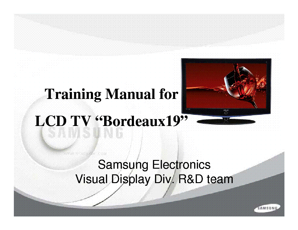 SAMSUNG LNS1951W BORDEAUX-19 LCD-TV TRAINING-MANUAL service manual (1st page)