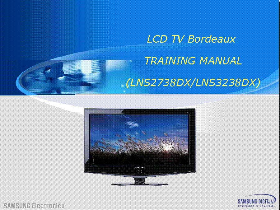 SAMSUNG LNS2738DX LNS3238DX LNS3241D LNS3251DX BORDEAUX TRAINING service manual (1st page)