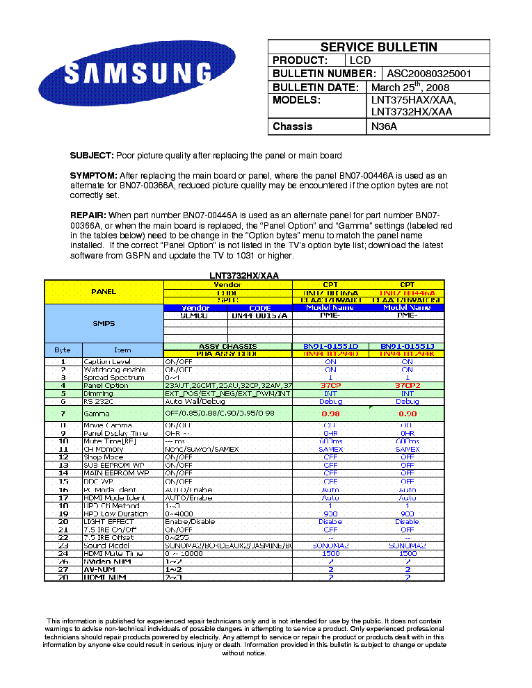 SAMSUNG LNT375HAX LNT3732HX CHASSIS N36A ASC20080325001 BULLETIN service manual (1st page)
