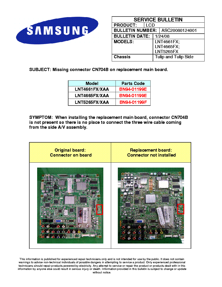 SAMSUNG LNT4661FX LNT4665FX LNT5265FX CHASSIS TULIP ASC20080124001 BULLETIN service manual (1st page)