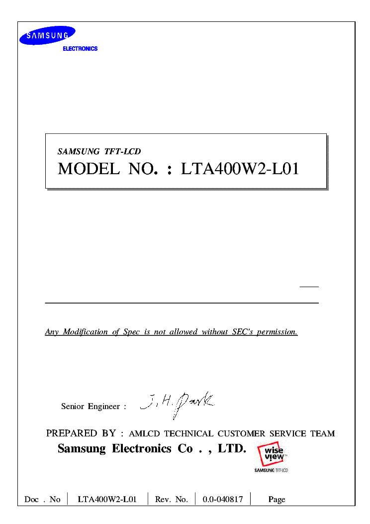 SAMSUNG LTA400W2-L01 TFT-LCD DISPLAY INFO service manual (1st page)