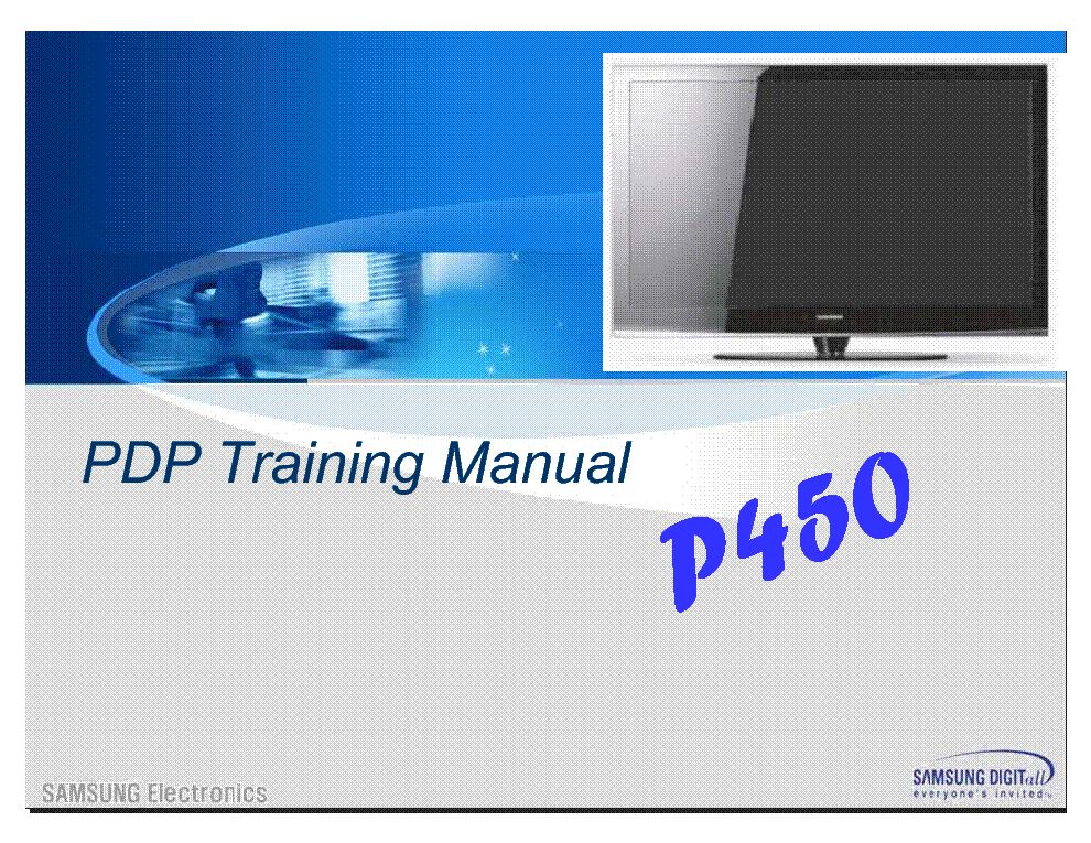 SAMSUNG P450 SERIES PDP TRAINING service manual (1st page)