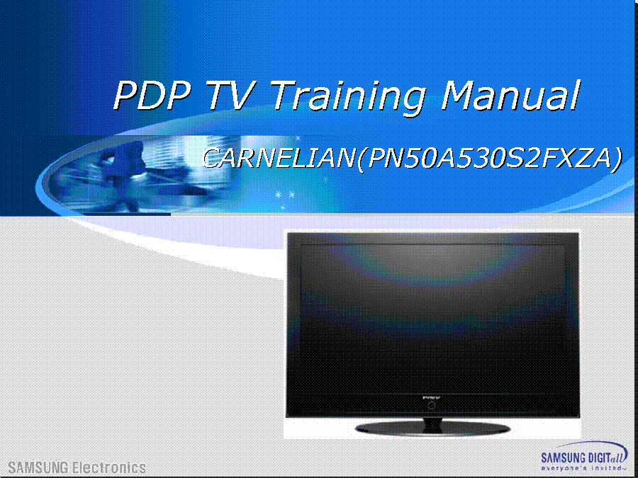 SAMSUNG PN50A530S2FXZC CARNELIAN TRAINING service manual (1st page)