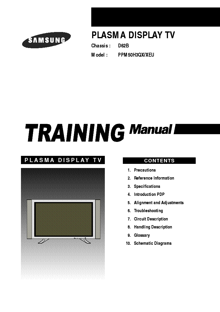 SAMSUNG PPM50H3QX-XEU CHASSIS D62B TRAINING service manual (1st page)