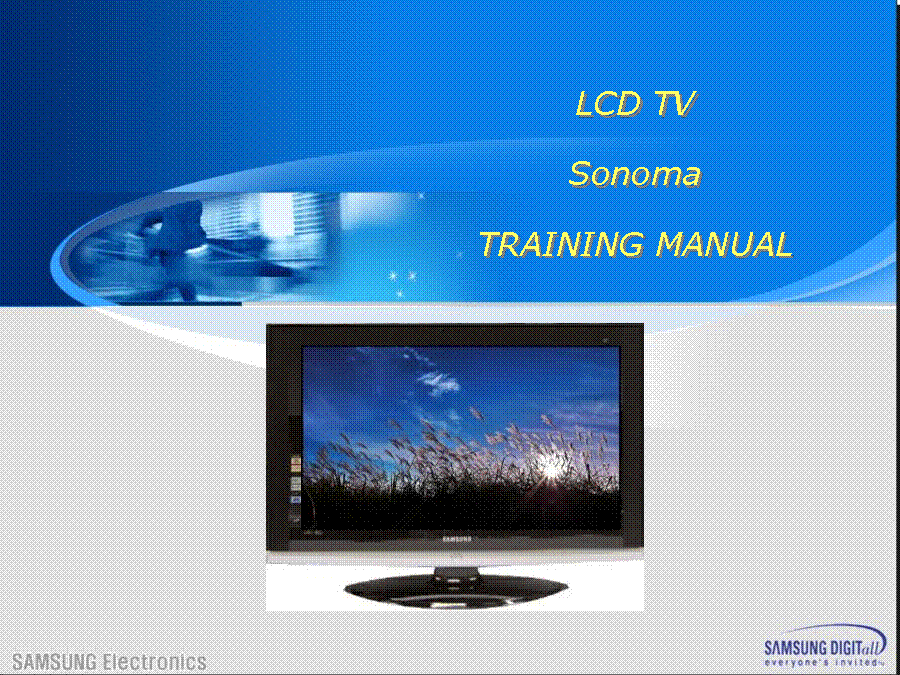 SAMSUNG SONOMA LCD TV TRAINING service manual (1st page)