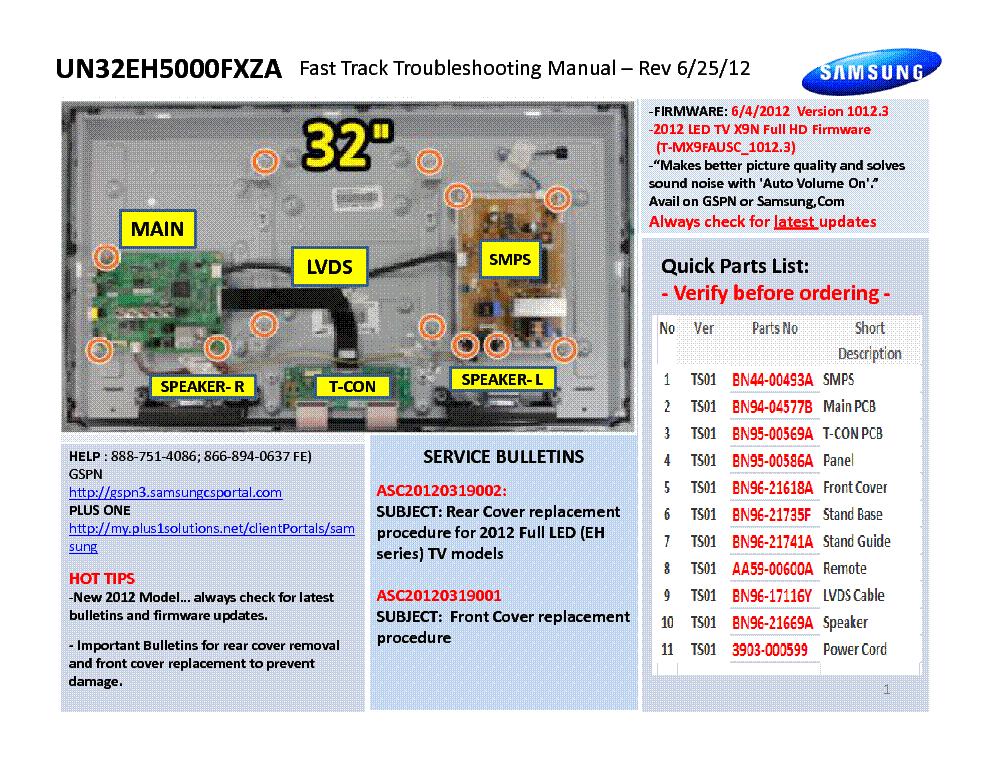 SAMSUNG UN32EH5000FXZA FAST TRACK GUIDE Service Manual download ...