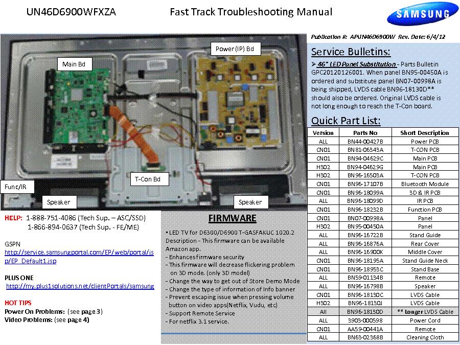Samsung Un46d6900wfxza Led Tv Fast Track Service Manual