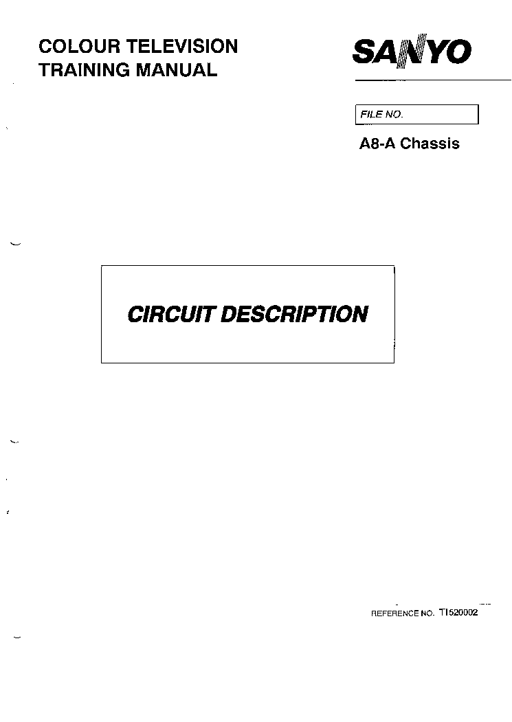 SANYO A8-A SERIES CHASSIS CIRCUIT DESCRIPTION TRAINING MANUAL service manual (1st page)